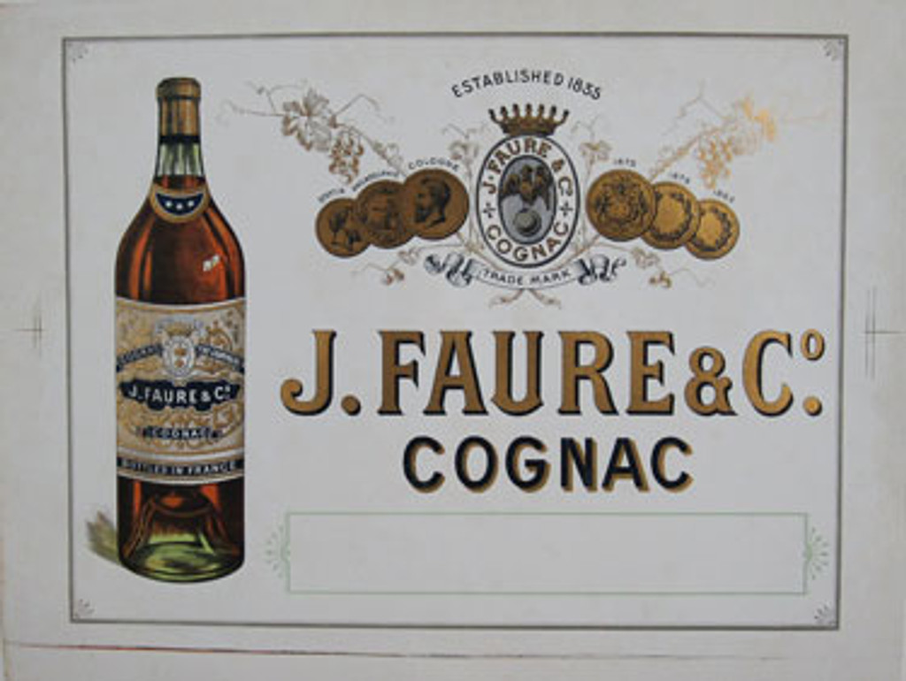 Cognac J. Faure and Co. original vintage wine and spirits poster from 1900 France. Horizontal French advertisement with large bottle of cognac on a white background.
