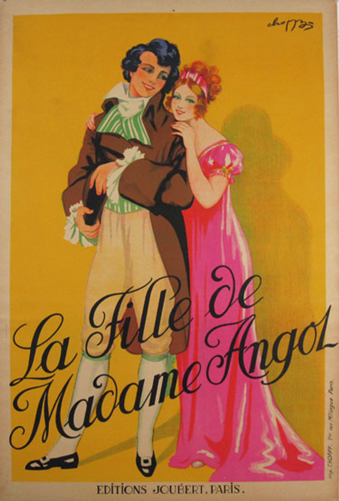 La Fille De Madame Angol original vintage 1926 poster by Choppy - French poster shows a woman wearing a pink dress, hugging a man on yellow background.