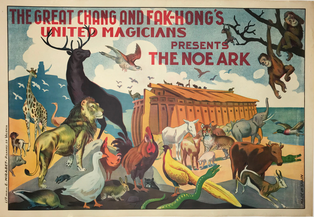 The Chang and Fak Hongs United Magicians Presents The Noe Ark. Original Spanish vintage advertising lithograph poster from 1920.