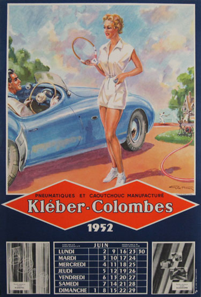 Kleber-Colombes Original Vintage lithographic advertising Poster by Geo Ham from 1952 France