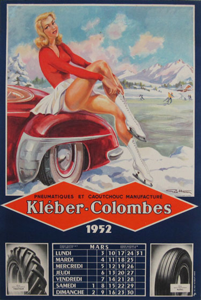 Kleber-Colombes Tire Co. Original Vintage advertising lithographic Poster by G. Ham from 1952 France