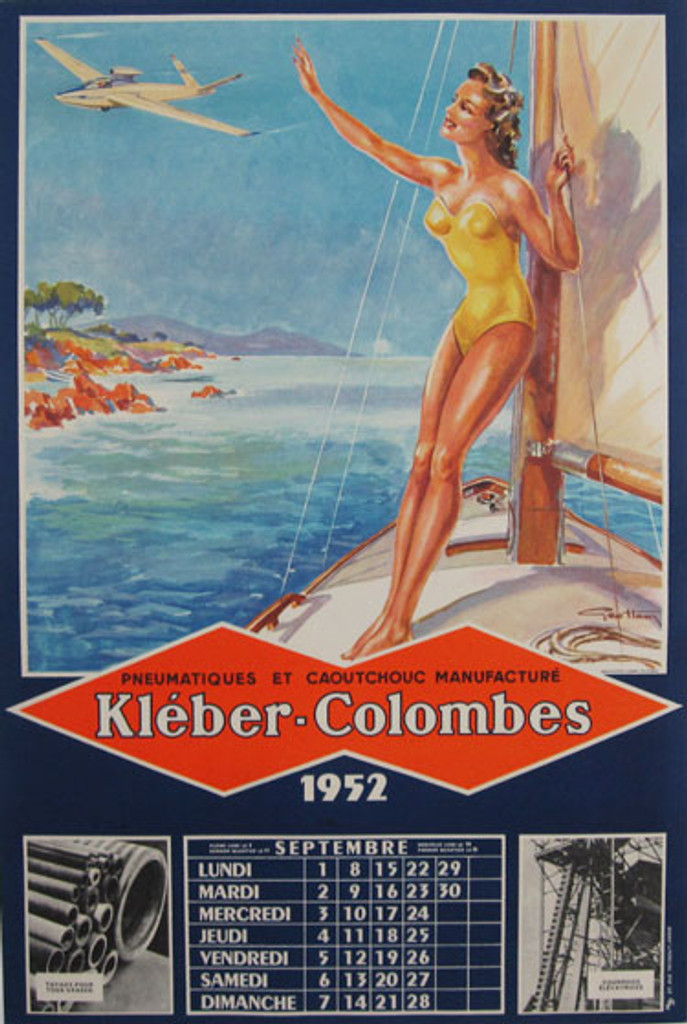 Kleber-Colombes Original Vintage Advertising Lithographic Poster by G. Ham from 1952