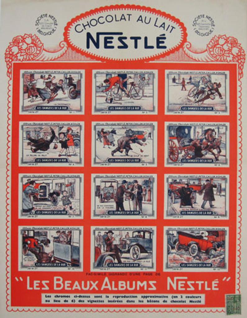 Chocolat Au Lait Nestle Original Vintage advertising Lithographic Poster 1938
