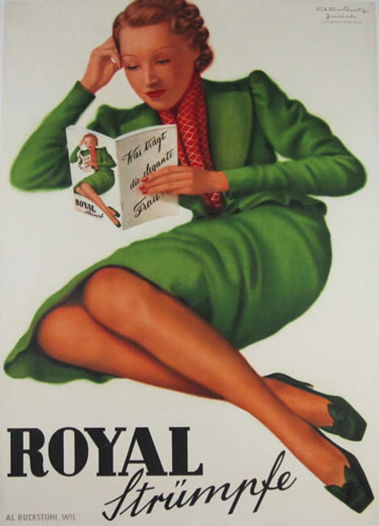 Royal Strumpfe Original Vintage Poster by Paul Bender from 1940 Switzerland