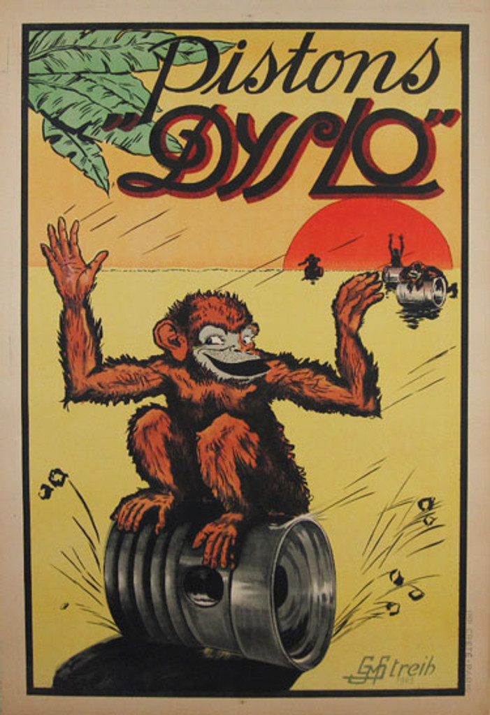 Pistons Dyslo original vintage odd product poster from 1925 by Streih. Only original vintage advertising lithograph posters.