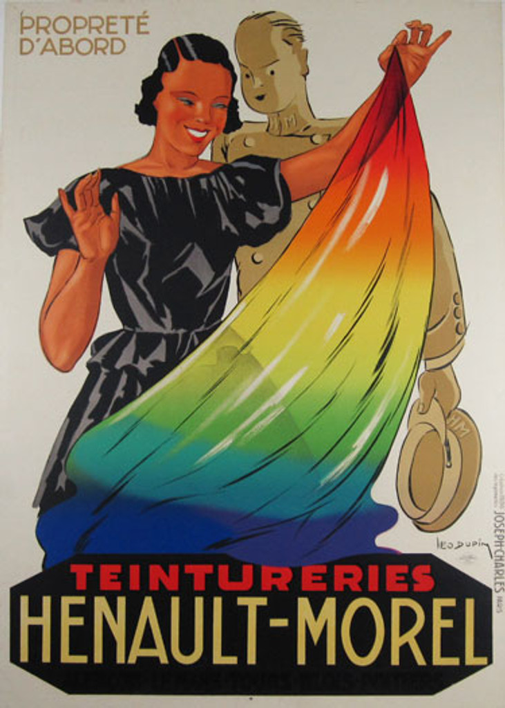 Henault Morel Teintureries original vintage odd product poster by Leon Dupin from 1936 France advertising fabric dye.