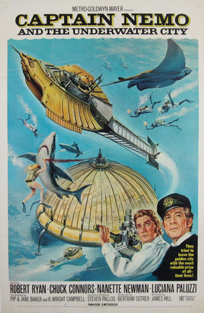 Captain Nemo & The Underwater City Original American Movie Vintage Poster from 1970. Robert Ryan, Chuck Connors, Nanette Newman, Luciana Paluzzi
