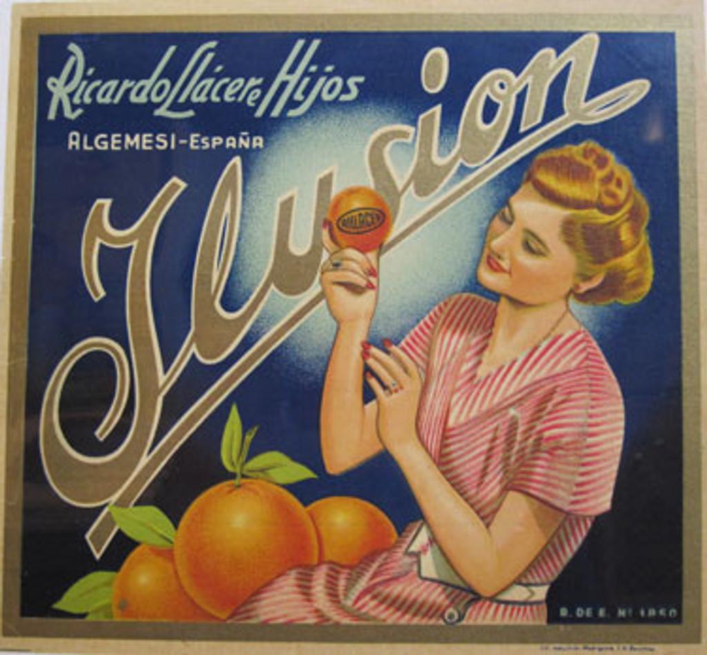 Leusion Ricardo Llacere Hijos Orange company advertisement crate label original vintage antique lithograph poster