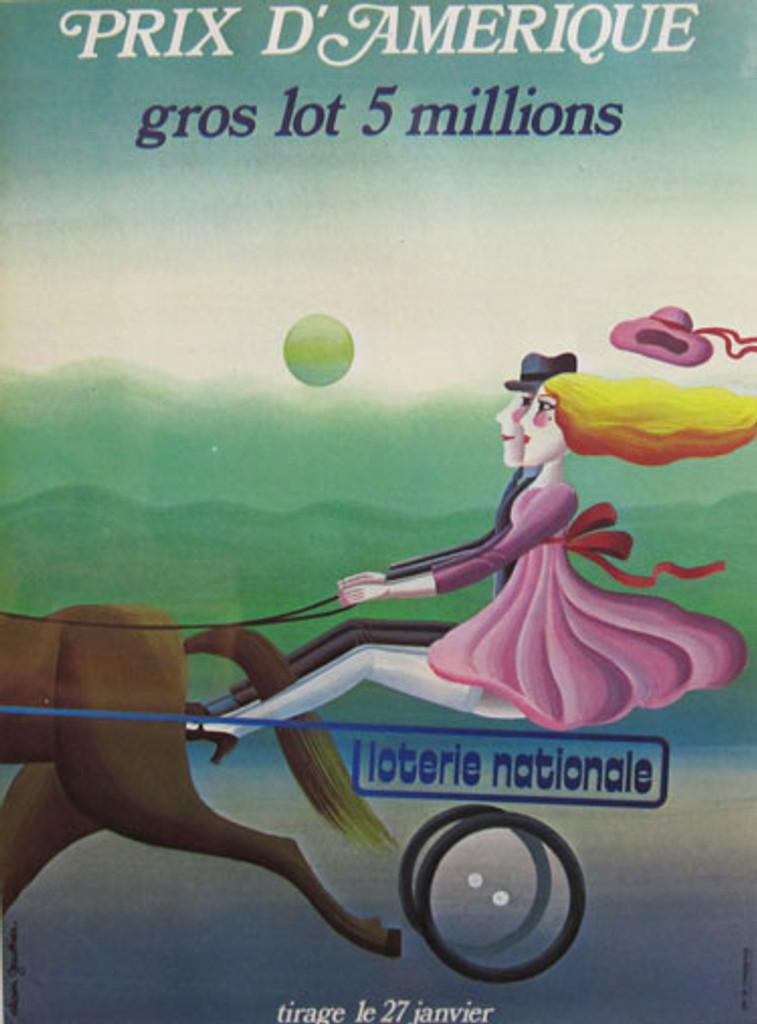 Loterie National Prix d Amerique Alain Gauthier 1970 France vintage original lithography poster