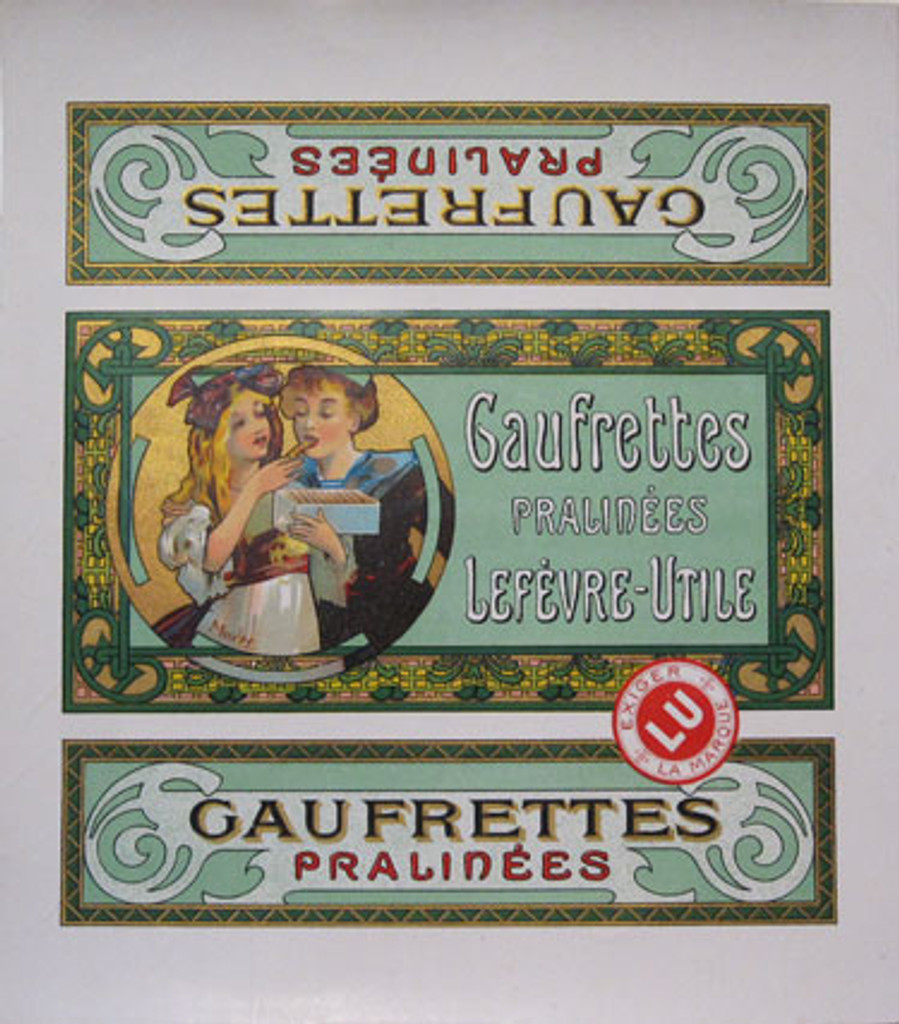 Gaufrettes Pralinees original 115 year old vintage lithograph By Alphonse Mucha .... biscuit box label.