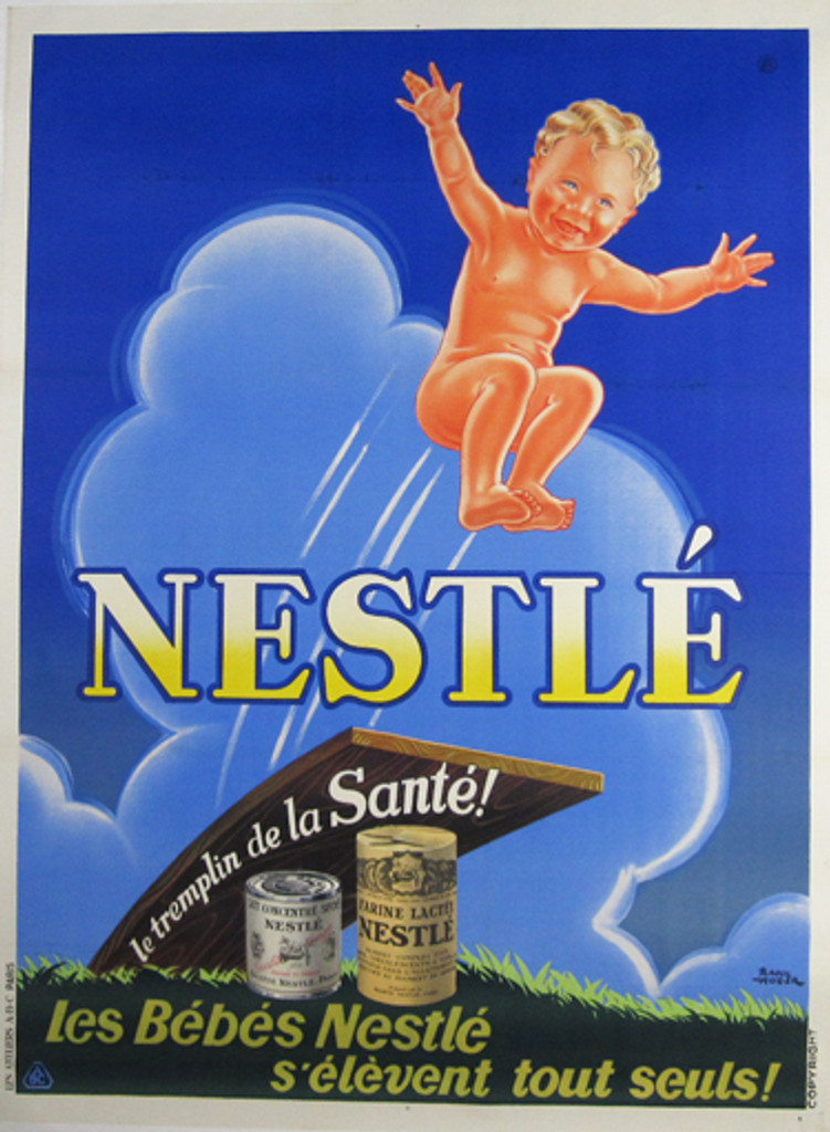 Nestle French original vintage food poster by Raoul Auger from 1926. Shows a naked blonde baby jumping to the air on blue background.