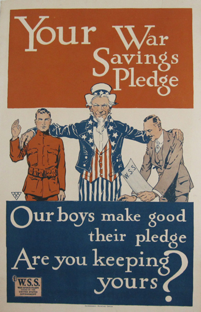 Your War Savings Pledge original vintage American war one poster from 1917 USA. Features a Uncle Sam with a soldier and a man purchasing War Savings Stamps.