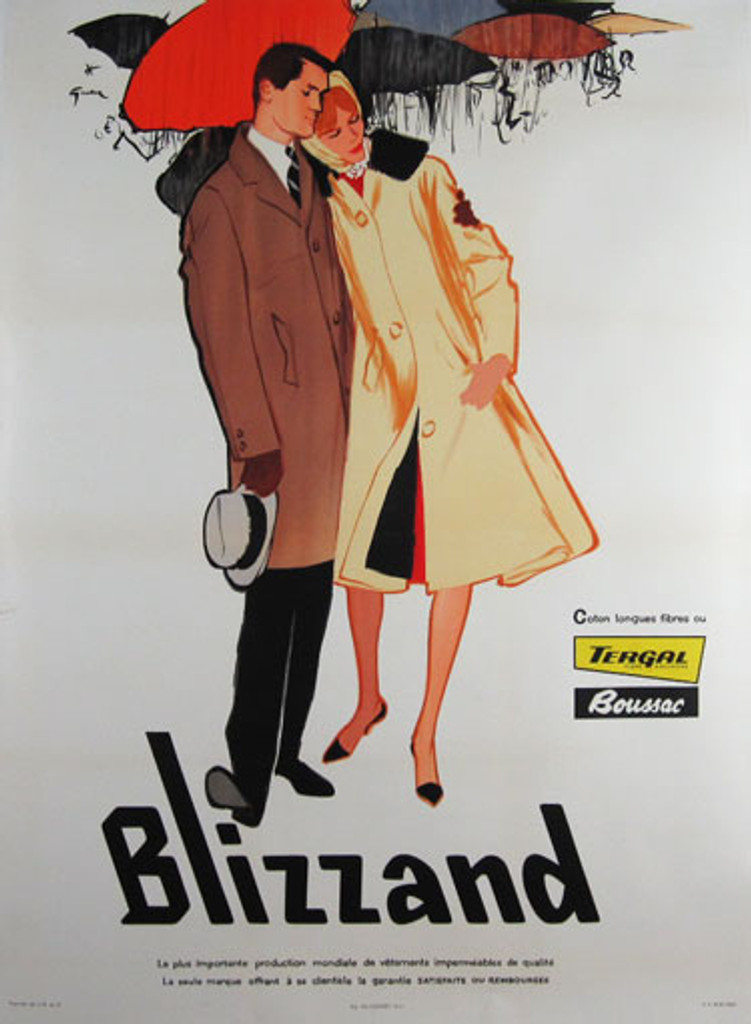Blizzand original French vintage poster by Rene Gruau from 1960 France. Rain coats company advertisement.