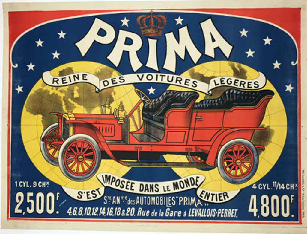 Prima Reine Des Voitures Legeres original vintage transportation poster from France. Automotive advertisement from 1906 features large old antique red car on a background of two world globes.