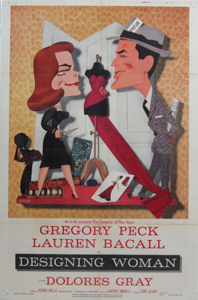 Designing Woman original american movie poster by Kapralik from 1957 USA.