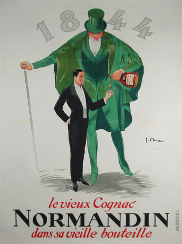 Cognac Normandin original vintage wine and spirits poster by Jean-Raoul Naurac from 1926 France.