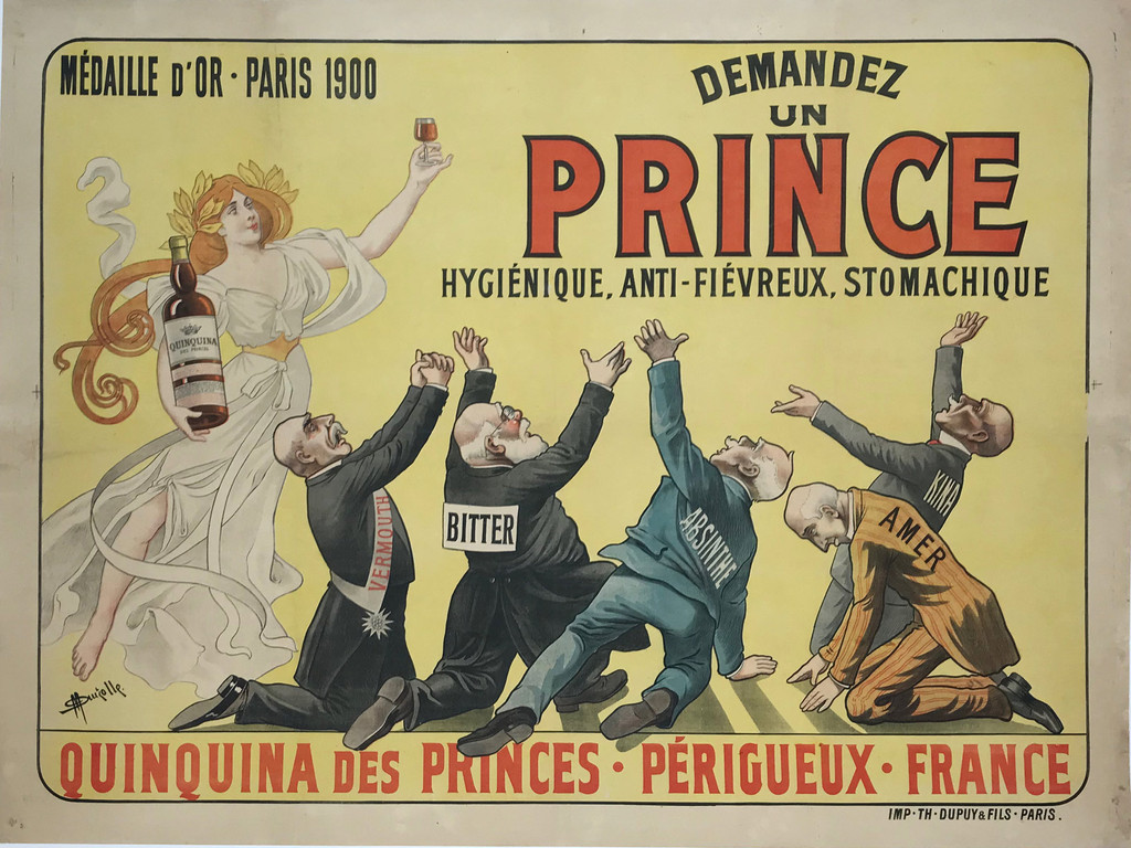 Quinquina Des Princes 1901 Auzolle  Stone Lithograph Antique Advertising Poster