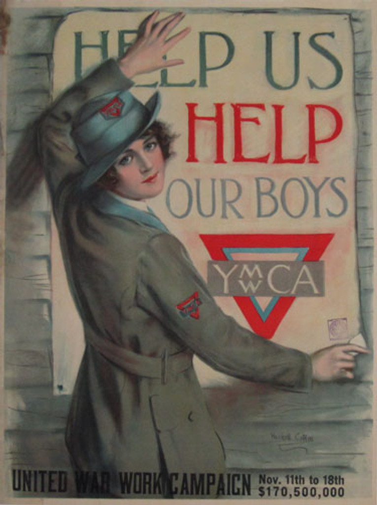 Help Us Help Our Boys original vintage poster by Haskell Coffin from 1918 USA. World War I poster features a woman in a YMCA uniform smiles at the painter while hanging a poster on a wooden wall.