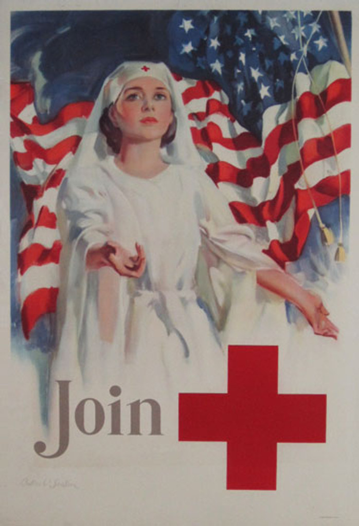 Original Vintage War Poster Join by Seaton from 1943 USA. Features a woman with hands stretched in front, behind her is the American flag.