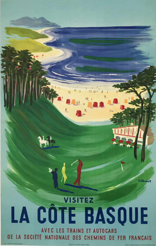 La Cote Basque Chemins de Fer Franciase original French vintage lithograph travel advertisement poster by Bernard Villemot from 1957 France. Advertising beautiful beach view, people paying golf and horseback riding.