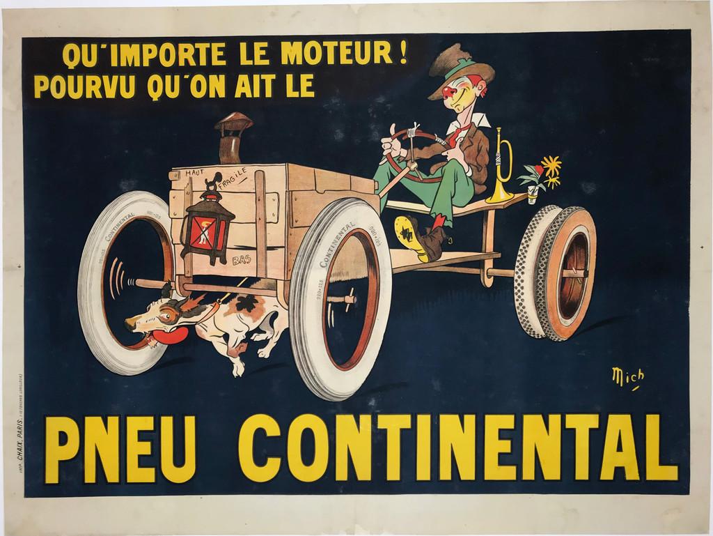 Pneu Continental Le Moteur Original Vintage Automotive Poster by Mich from 1913 France.