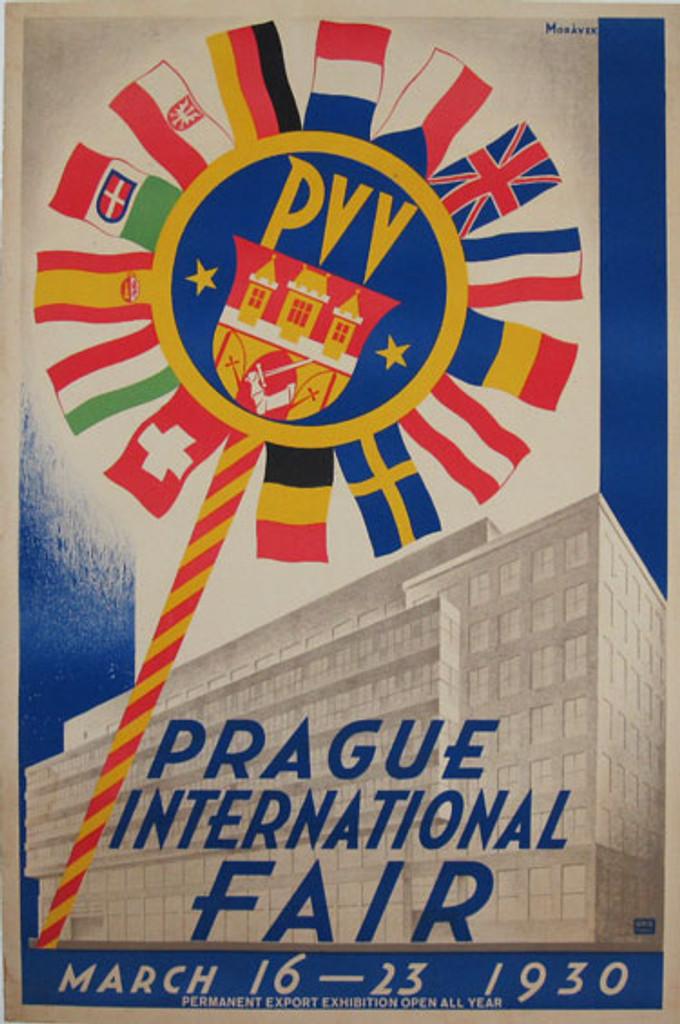 Prague International Fair By Moravek 1930 original vintage Czech lithograph advertisement poster