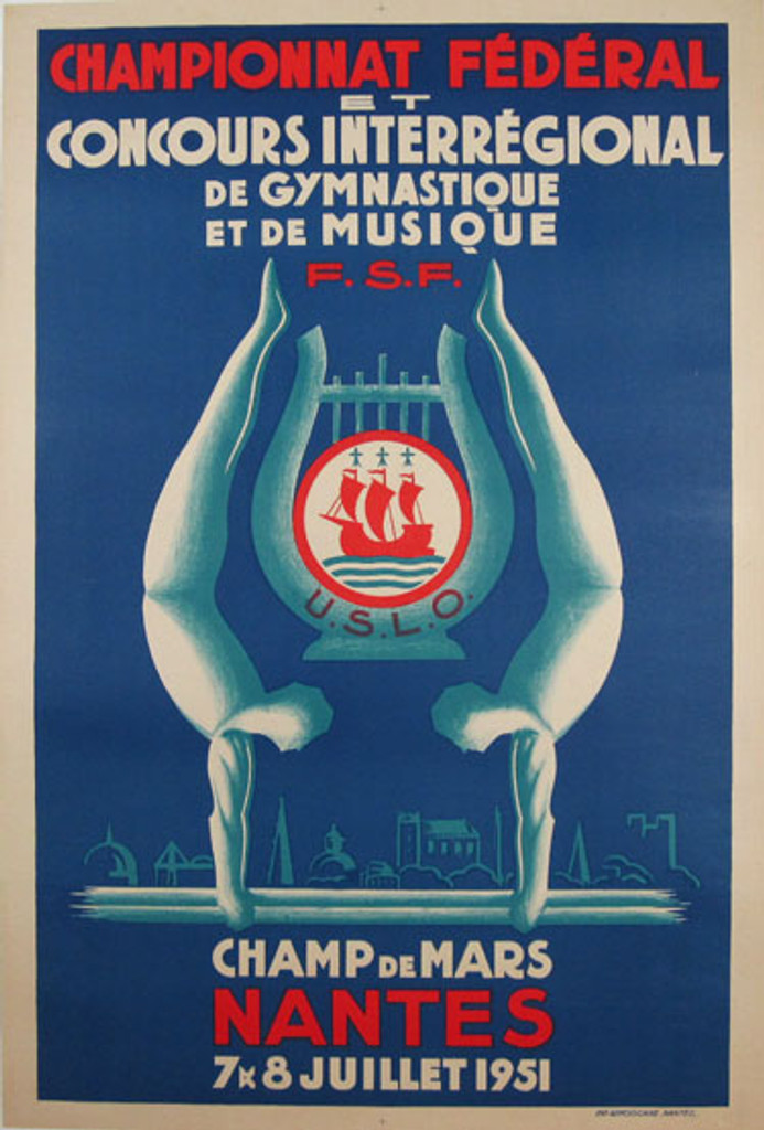 Championnat Federal Gymnastique original vintage poster by Imp. Armoricaine from 1951 France
