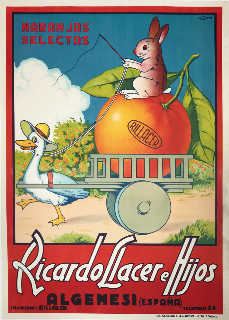 Ricardo Llacer Hijos Original Vintage Poster by Carot from 1930 Spain. Shows a goose pulling the cart with big orange on who is sitting rabbit and directs a goose.