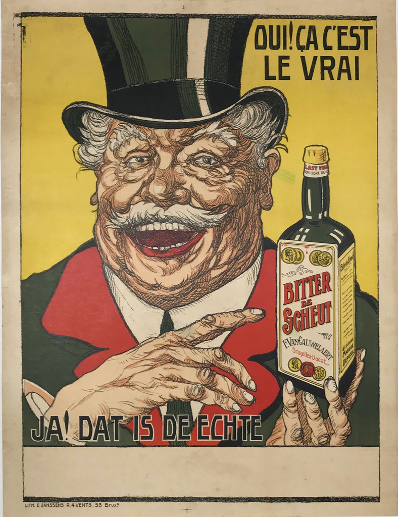 Original Belgium Vintage Poster - Bitter De Scheut from 1920 by Imp. Janssens. Belgium wine and spirit poster features a smiling man in a black hat holding up a bottle of bitter on yellow background.