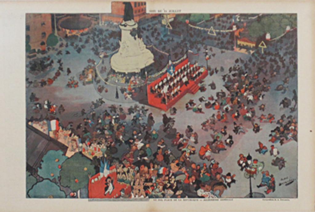 La Rire Insert by Andre Devambez original vintage poster from 1899 France Le Bal Place De La Republique Allegresse Generale
