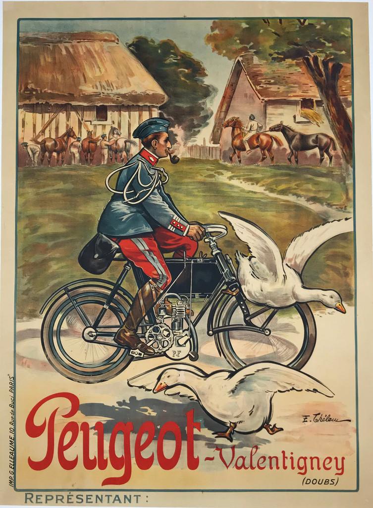 1912 French Peugeot Valentigney Motorbike Poster