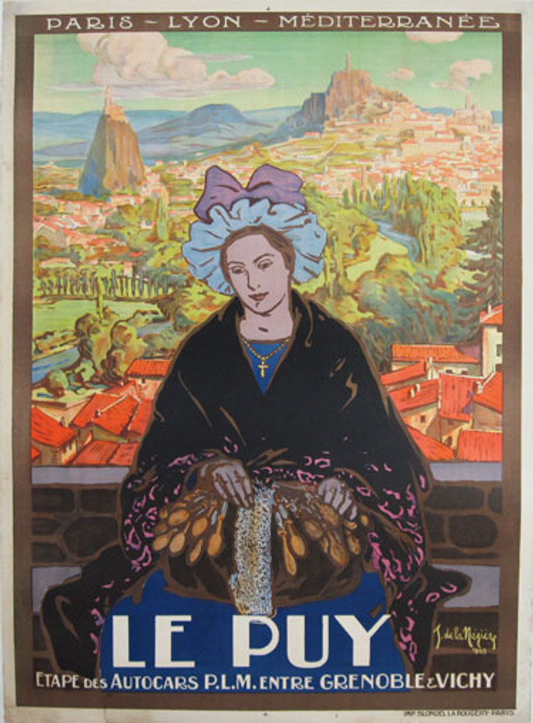 Le Puy original French vintage advertisement travel poster by Neziere from 1925 France.