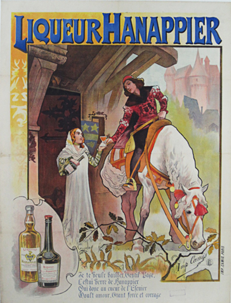 Liqueur Hanappier by Guydo from 1897 - French wine and spirits poster features a nobleman on a horse receiving a glass of liqueur from a women in white. We specialize in Original Vintage and Antique Posters.
