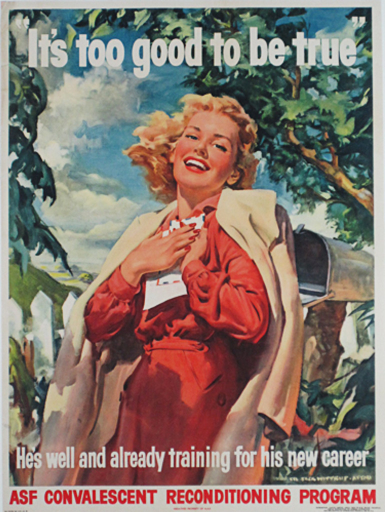 It is too good to be true original vintage poster by Wittrup from 1944 - American poster features a smiling woman with red dress and creamy coat she is holding a letter, in the background are trees and mailbox.