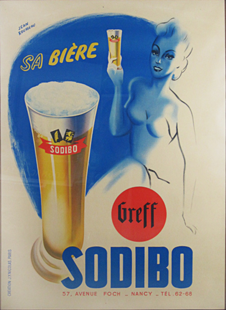 Sodibo Biere French original beer poster from 1940 by J. Rousseau. Features a outline of a women holding up a glass with another larger glass of beer in front of her.