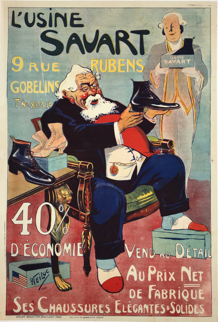 Original vintage poster from 1906 French L'Usine Savart Chaussures by Weiluc