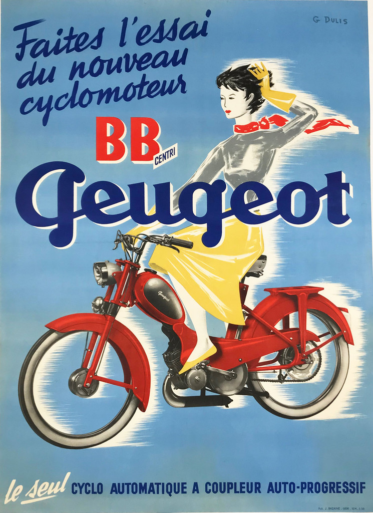 Original BB Centri Peugeot Cyclo Automatique Vintage French 1958 Plate Lithograph Advertisiement Poster by G. Dulis