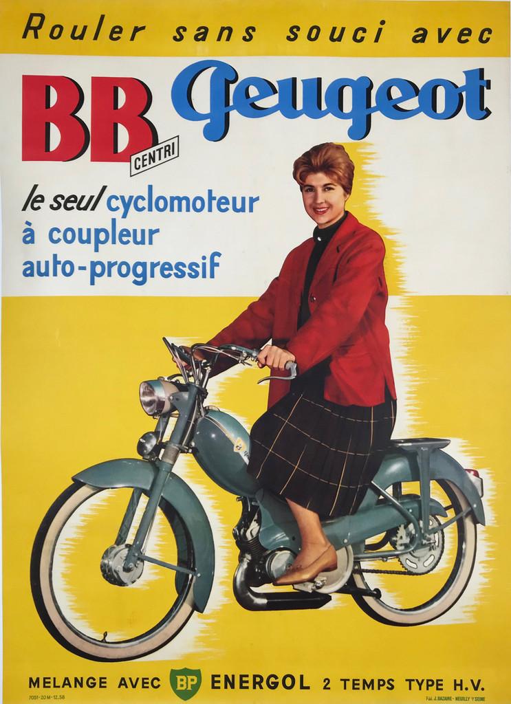 1968 Peugeot BB Centri le Seul Cyclomoteur Original Poster