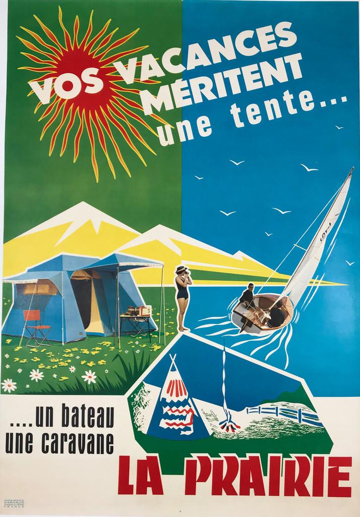 La Prairie Vos Vacances  French 1950's Advertisement Poster