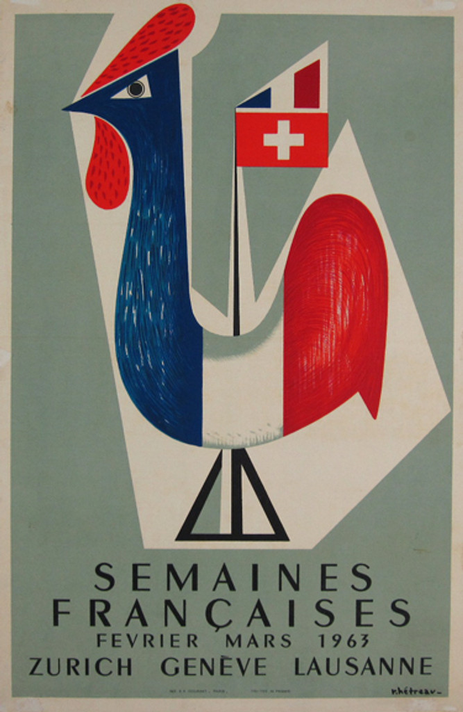 Semaines Francaises original vintage poster by R. Hetreau from 1963 France