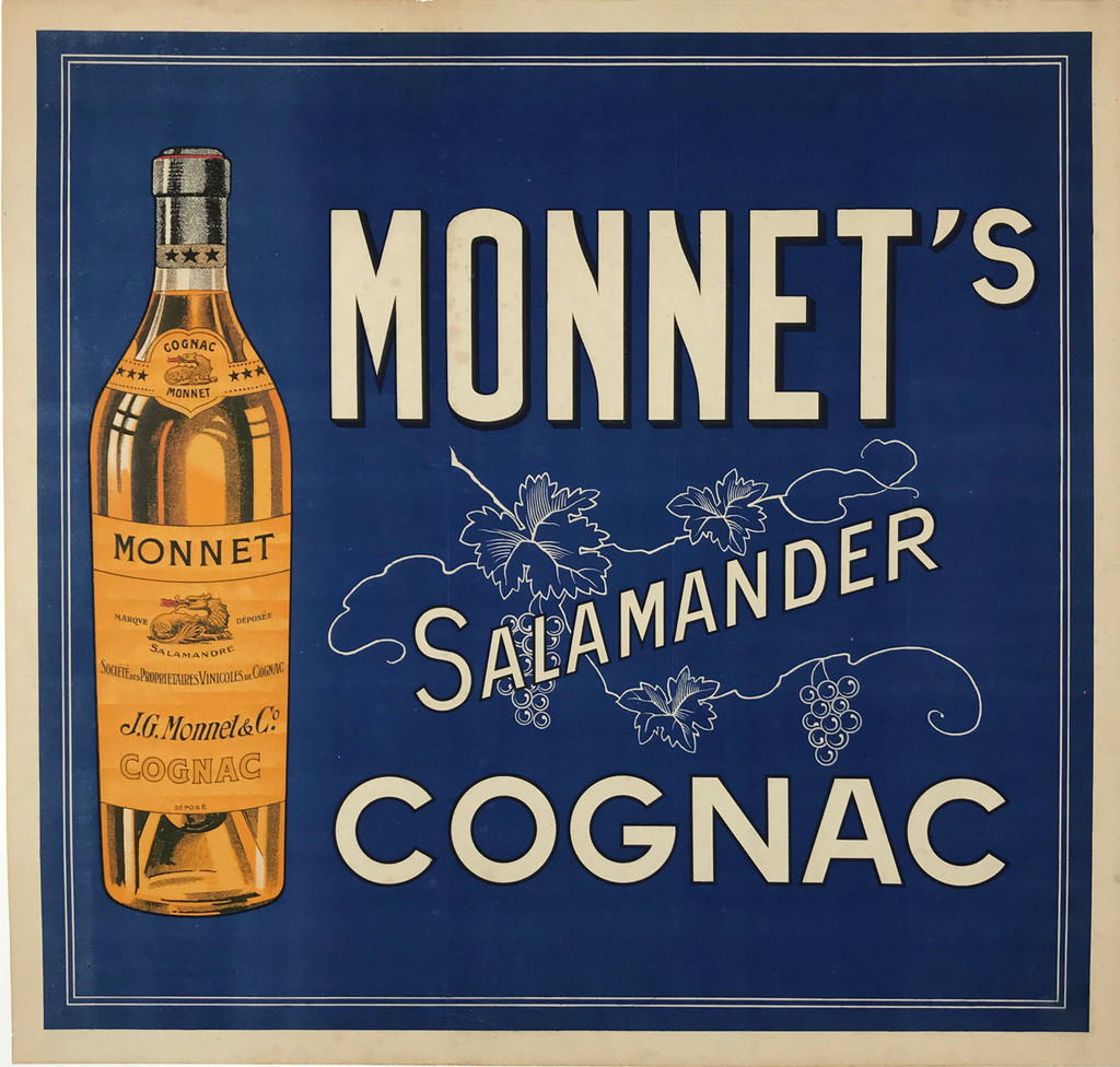 Cognac Salamander Monnet from 1924 France. This horizontal French poster features a bottle of liquor against a blue background. Original Vintage Posters.