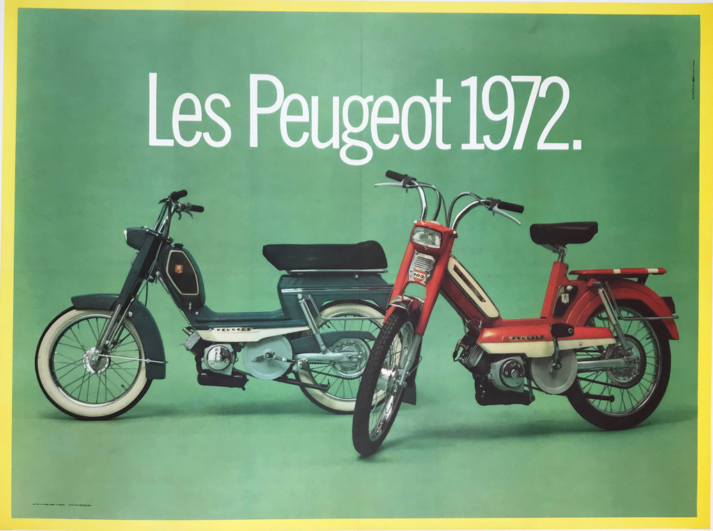 Original Les Cyclo Moteur Peugeot 1972 Offset Plate Lithograph Poster Linen Backed