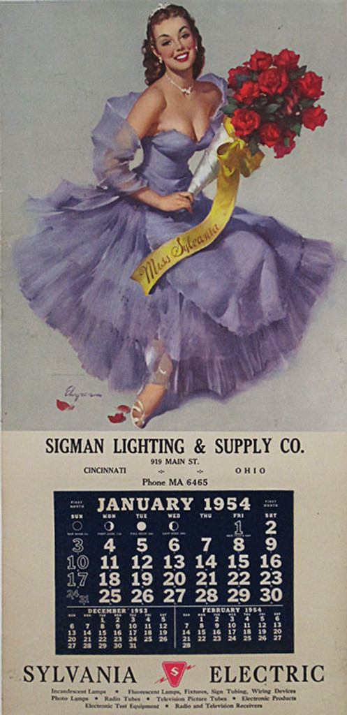 Sigman Lighting and Supply Co Sylvania Electric calendar Pinup Girl by Elvgren. Original American vintage poster advertisement from 1954.