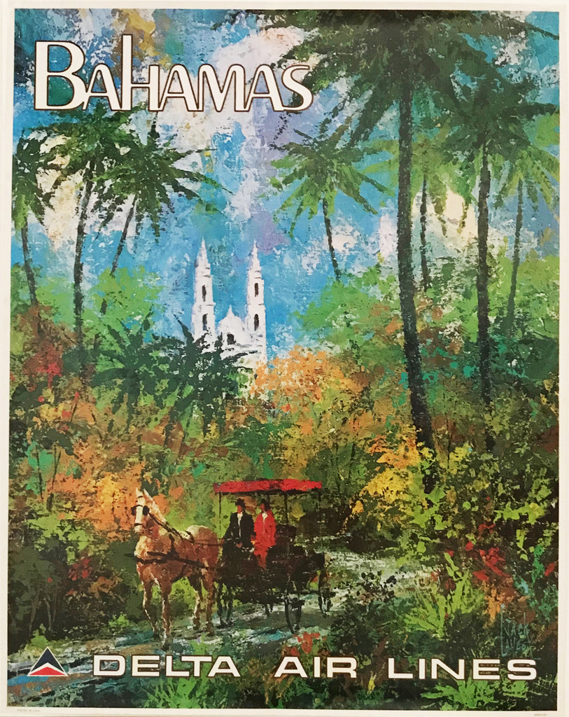 Delta Airlines to Bahamas original American travel poster from 1970's by Jack Laycox.
