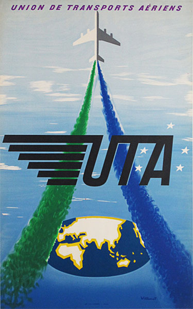 Union de Transports Aeriens - UTA original vintage travel poster by Bernard Villemot from 1957 France.