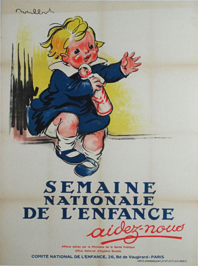 Semaine Nationale De L'Enfance original vintage poster by Poulbot from 1934 France