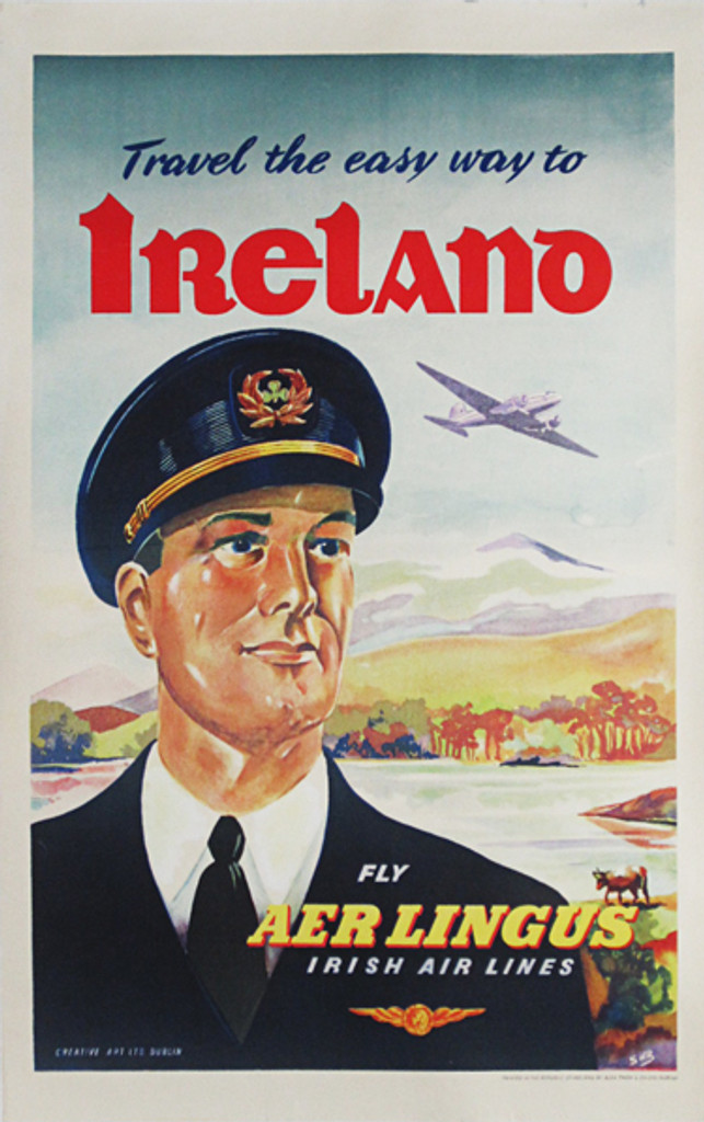 Aer Lingus Irish Airlines original vintage poster from 1949 Ireland