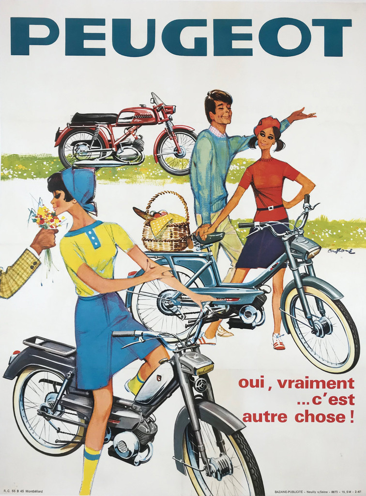 1966 French Peugeot Scooter Autre Chose Poster by R.C. Montbeliard