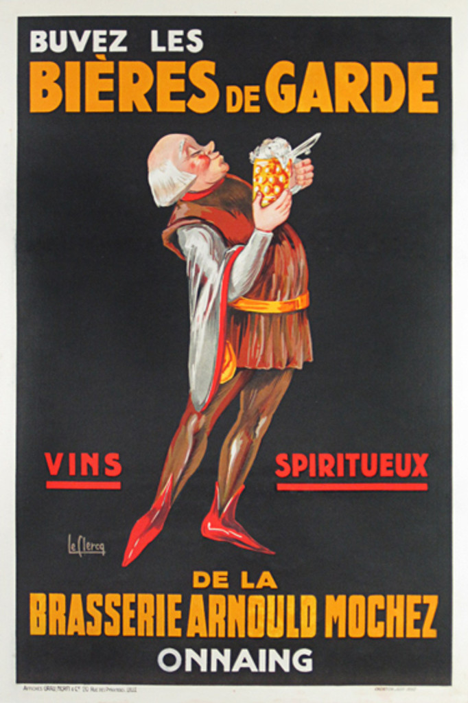 Bieres De Garde wine and spirit poster by Le Clercq from 1930 France. This vertical French poster features a man standing in a brown tunic about to sip a mug of foaming beer. Original Vintage Beer Posters.