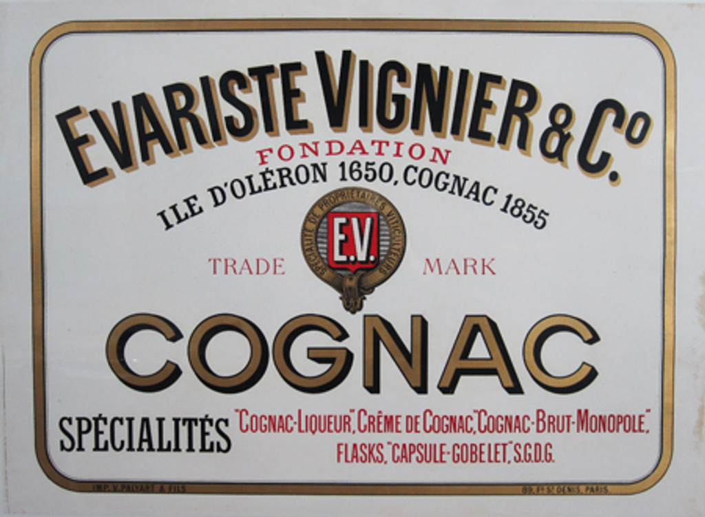 Cognac Evariste Vignier  Co. 1899 France - Beautiful Vintage Poster. This horizontal French food poster features all typography in black, gold and red framed by a gold line. Original Antique Posters